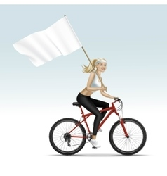 Blonde Woman Girl Riding a Bicycle with Flag vector