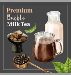Bubble milk tea promotion set discount ad content vector