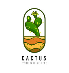 cactus logo design template vector image