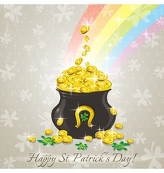 Card for St Patricks Day and golden pot vector image
