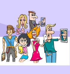 cartoon group of people doing selfie photos vector image