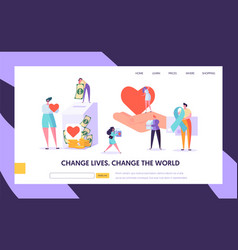 Charity donation change world landing page vector