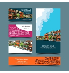 Cityscape card set vector image