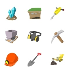 Coal mining icons set cartoon style vector image
