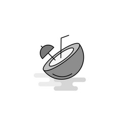 coconut web icon flat line filled gray icon vector image