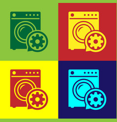 Color washer and gear icon isolated on color vector