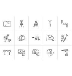 Construction hand drawn sketch icon set vector