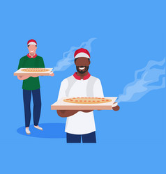 couple male cook chef characters holding box with vector image