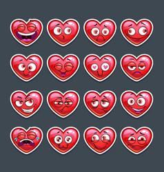 Cute cartoon red heart emoji set vector