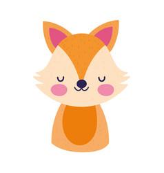 cute fox little animal cartoon isolated design vector image