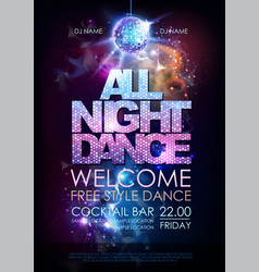 disco ball background disco all night dance party vector image