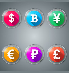 dollar bitcoin yen euro ruble pound icon vector image