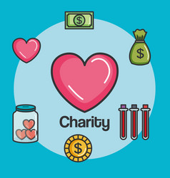 Donation charity and volunteer work concept vector