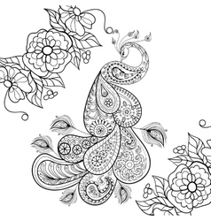 entangle peacock totem in flowersfor adult anti vector image