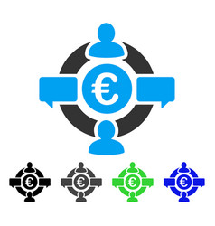 Euro social network flat icon vector