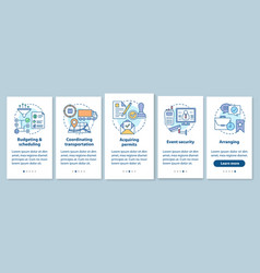 Event planning onboarding mobile app page screen vector