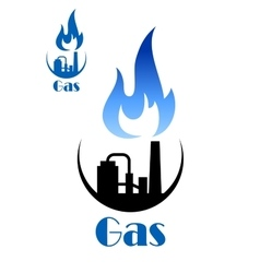 Factory pipes with blue flame of natural gas vector image