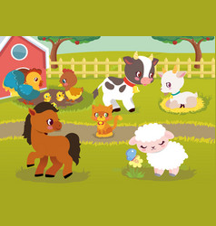 farm animal happy character vector image