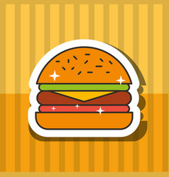 fast food hamburger meat tomato and letucce vector image