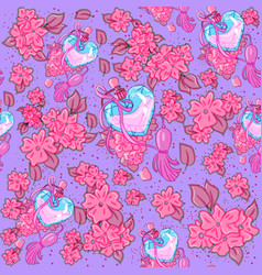 feminine seamless pattern full cherry flowers vector image