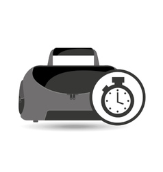 Fitness sport bag icon chronometer vector
