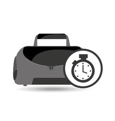 Fitness sport bag icon chronometer vector