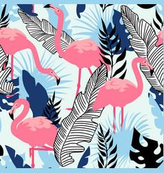flamingo pattern seamless summer texture vector image