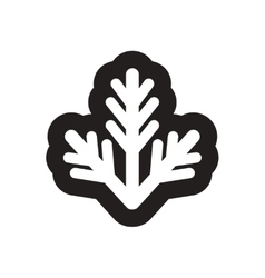 Flat icon in black and white fur-tree branch vector