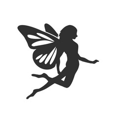 Flying fairy silhouette character design vector