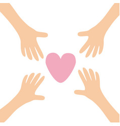 four hands arms reaching to big pink heart shape vector image