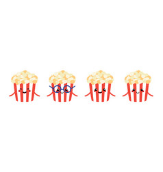 funny cartoon popcorn characters set collection vector image