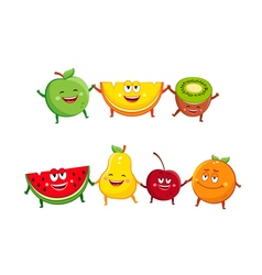 Funny fruits cartoon characters vector image