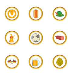 germany icon set cartoon style vector image