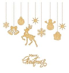 Golden christmas decorations vector