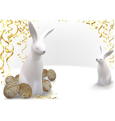 golden easter eggs and white bunnies vector image