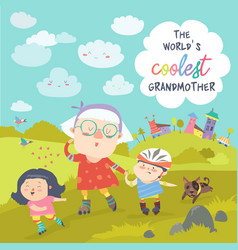 grandmother with her happy grandchildren skate on vector image