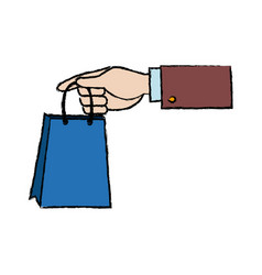 Hand holding paper bag shop image vector