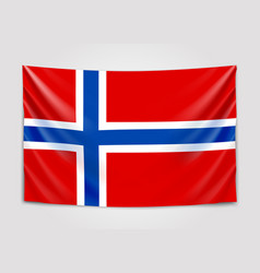 Hanging flag of norway kingdom of norway vector
