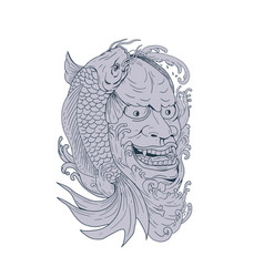 Hannya mask and koi fish drawing vector