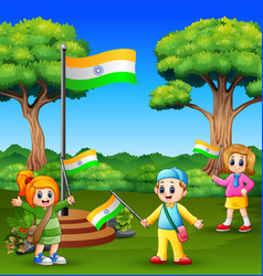 happy kids celebrating of indian republic day on t vector image