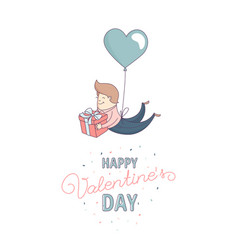 happy valentines day greeting card male character vector image