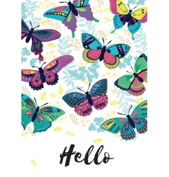 Hello card with butterflies vector