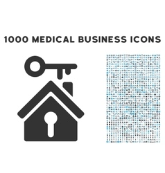 Home Key Icon with 1000 Medical Business vector image