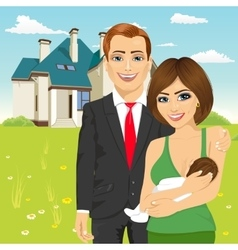 Husband with his wife in front of classic cottage vector