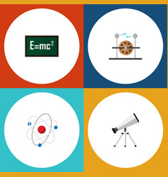 Icon flat study set of electricity atom formula vector