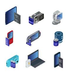 Isometric electronic gadgets set vector