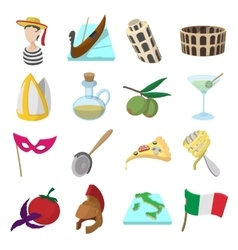 Italy cartoon icons vector image