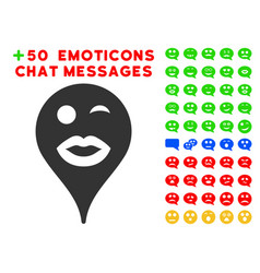 lady wink smiley map marker icon with bonus smiley vector image