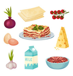 Lasagna ingredients set food collection vector