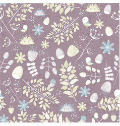 Light fresh seamless pattern with birds leaves vector